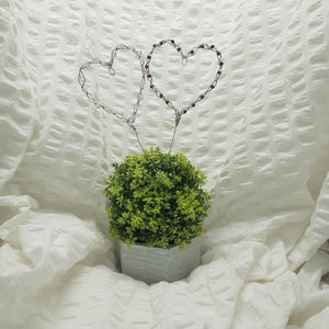 Beaded Heart Cake Toppers