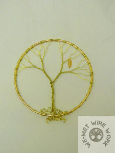 5 inch Tree of Life Sun Catcher- Gold Tone Wire