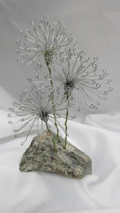 Wire Dandelions Mounted on a Soapstone Base