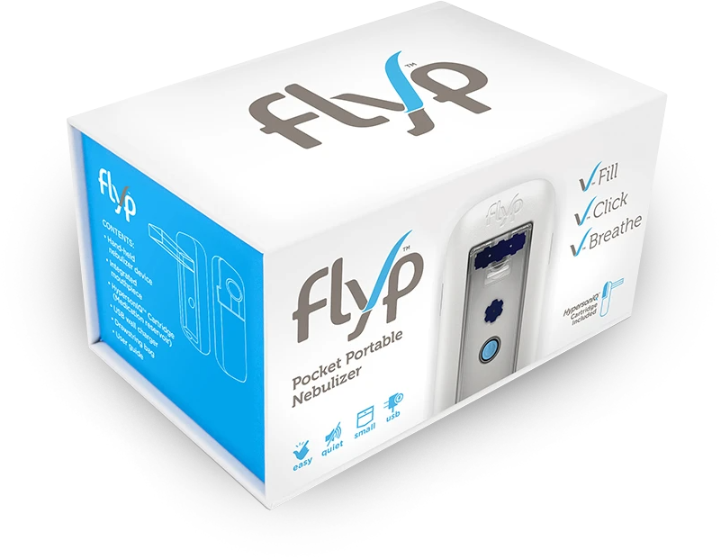 Flyp pocket portable nebulizer in product packaging