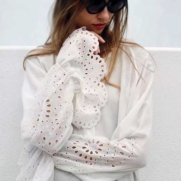 boho inspired cotton white shirt