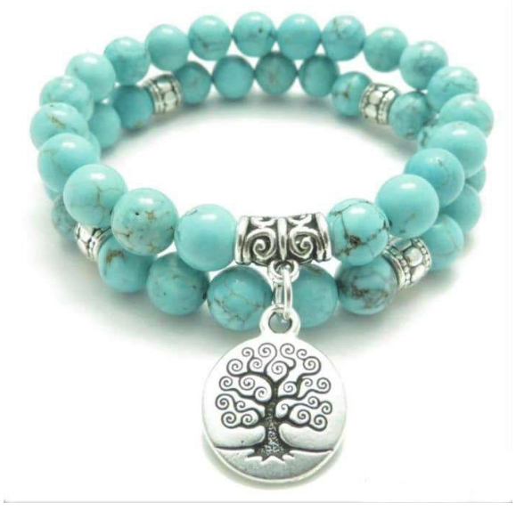 Turquoise Tree Of Life Beaded Bracelet, For Strength And Stability