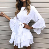 Ruffle Mini Summer Dress With Butterfly Sleeves And Waistband Tie
