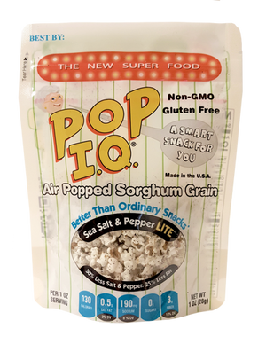 Salt & Pepper Lite Pop IQ - Air-popped Sorghum that is NON-GMO
