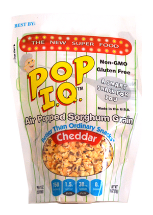 All-natural Cheddar Pop IQ - Air-popped Sorghum that is NON-GMO