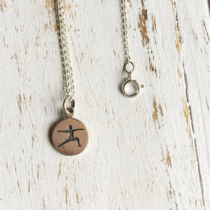 Sterling Silver Warrior II Yoga Necklace