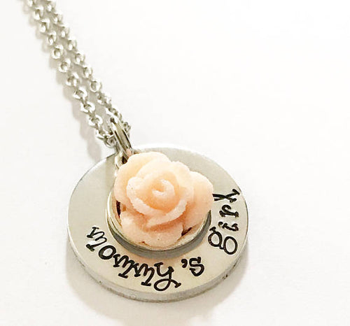 Girl's necklace - Name necklace - Hand stamped