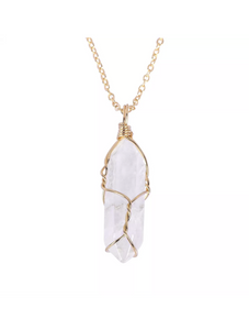 Gold wrapped crystal pendant necklace