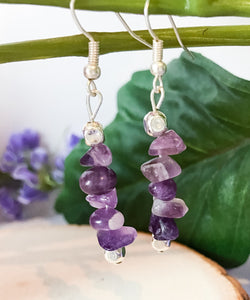 Amethyst Chip Dangle Earrings