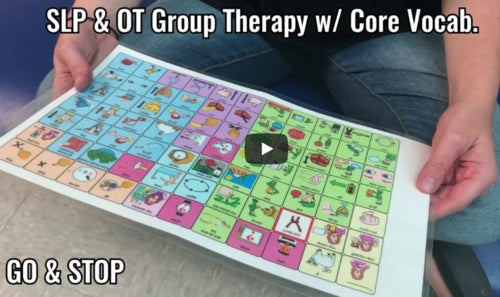 SLP and OT Group Therapy Lesson with Core Vocabulary Words Go & Stop