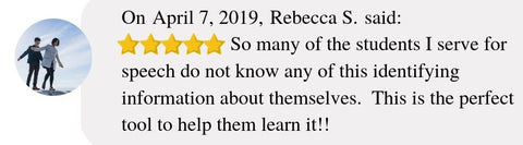 On April 7, 2019, Rebecca S. said:  So many of the students I serve for speech do not know any of this identifying information about themselves.  This is the perfect tool to help them learn it!!