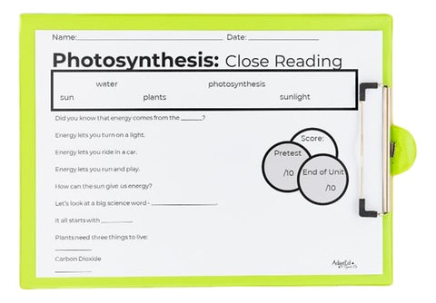 Photosynthesis Science Experiment AdaptEd 4 Special Ed  Cloze Reading