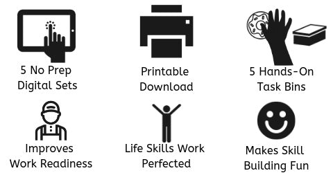 Fill the Order Life Skills Work Benefits 5 No Prep Digital Versions, 5 Hands-On Task Bins, Improves Work Skills, Life Skills Work Perfected, Happy Special Education Students