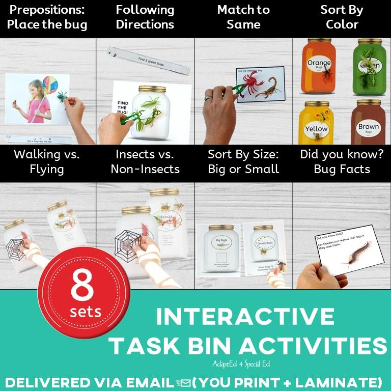 Bug Insects Task Bin Task Box Ships to You AdaptEd 4 Special Ed Special Needs Science Sorting Matching Same