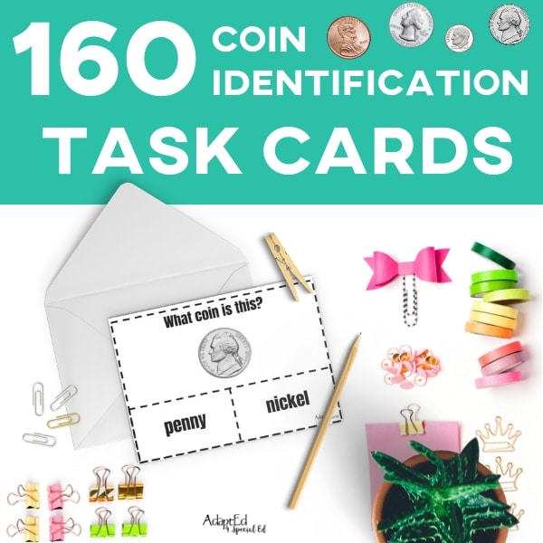 photograph regarding Printable Task Cards referred to as Activity Playing cards: Coin Id (Printable PDF)