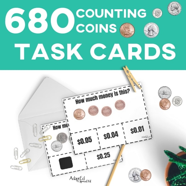 photograph relating to Coins Printable titled Activity Playing cards: Counting Cash (Printable PDF)
