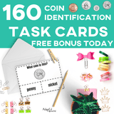 Free Gift with purchase! Grab our counting coins task bin activities and get our coin ID task cards completely free. AdaptEd 4 Special Ed