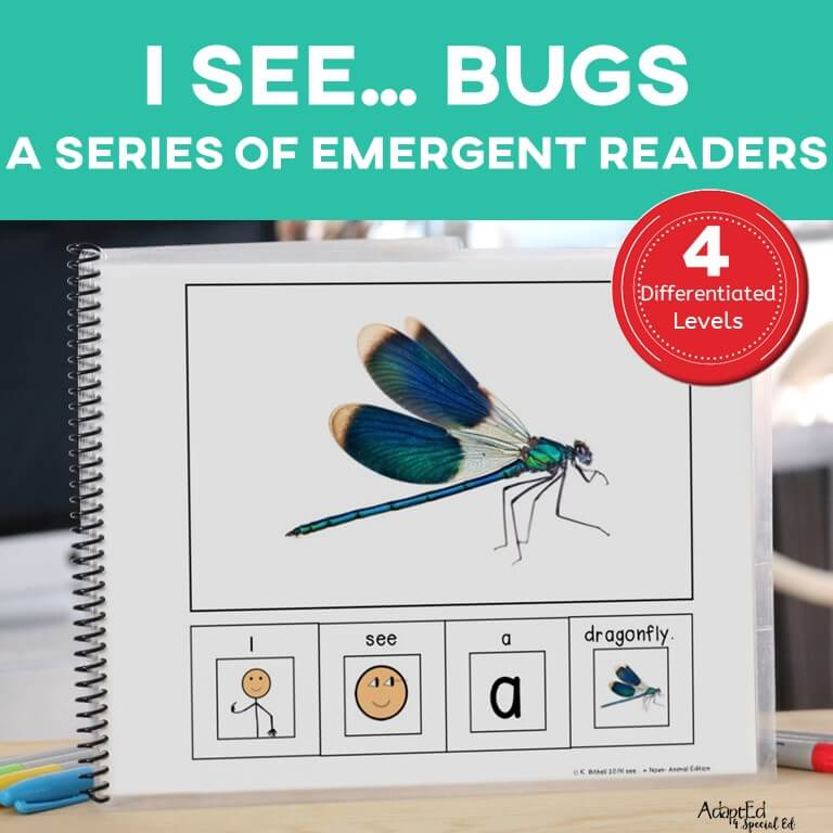 Emergent Reader Insects Bugs ASD Autism AdaptEd 4 Special Ed Special Needs Special Education Reading
