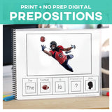 Prepositions Sports Adapted Books and Task Cards Set of 6 Books + 5 Sets of Task Cards