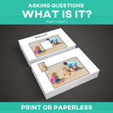 "WH Questions are an important concept to teach in a lifeskills classroom.  This asking WH questions series is designed to get your students to begin asking the question ""what it is?"" with provoking images that will keep your special education IEP work fun and interesting.  This simple set works great with a variety of learners including those who need AAC speech therapy to those in the special ed resource room. #therapyideas #specialneeds #SLP #adapted4specialed"