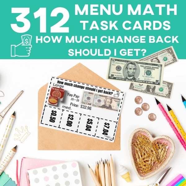 "Task Cards that teach functional skills! My students love doing menu math, and I love teaching them skills that they need to develop. Stop your special needs students from being short changed with this ""How much change should I get back?"" task cards. #specialneeds #adapted4specialed #specialed #lifeskills"