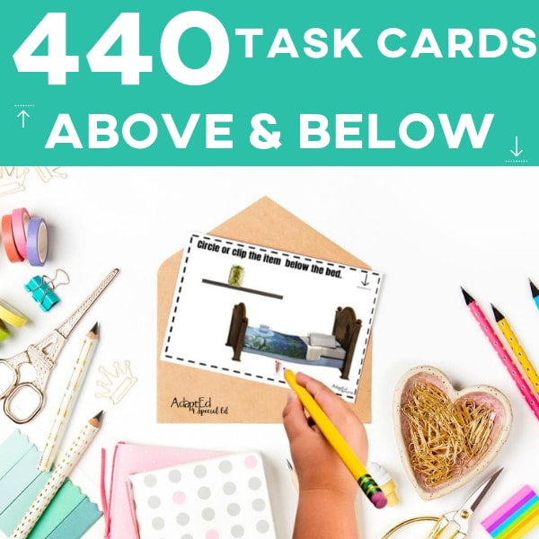 Prepositions Above and Below Task Cards SPED Special Education Autism Speech Therapy AAC Core Vocabulary Independent Work