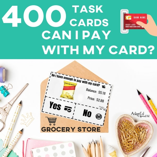 photo regarding Printable Task Cards referred to as Process Playing cards: Do I contain ample in direction of pay out with my card? Grocery Retailer (Printable PDF)