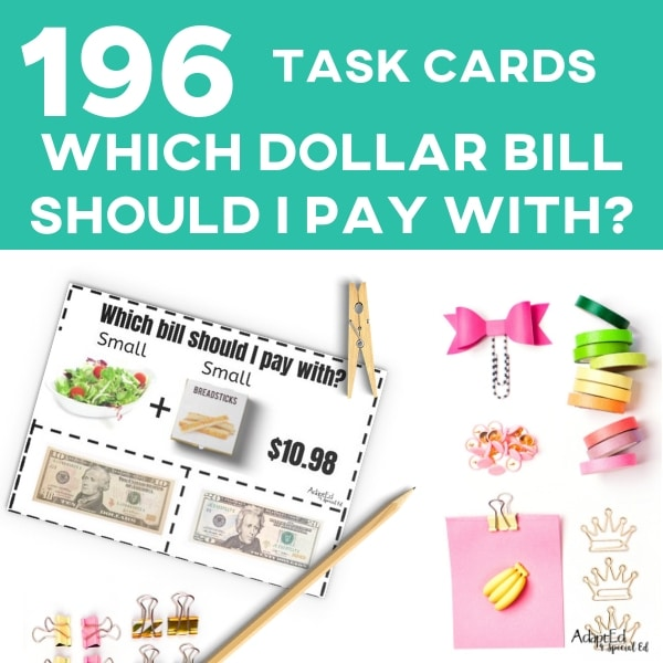 AdaptEd 4 Special Ed has the BEST life skills task cards! They are perfect for my special need life skills class, our community based instruction has improved so much since we've started using these awesome money task cards! #specialneeds #lifeskills #specialed #taskcards #cbi