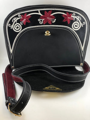 Black with Burgundy Rose Embroidered Purse