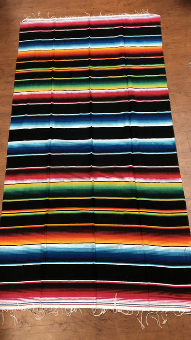 Black with Colors Large Sarape Saltillo