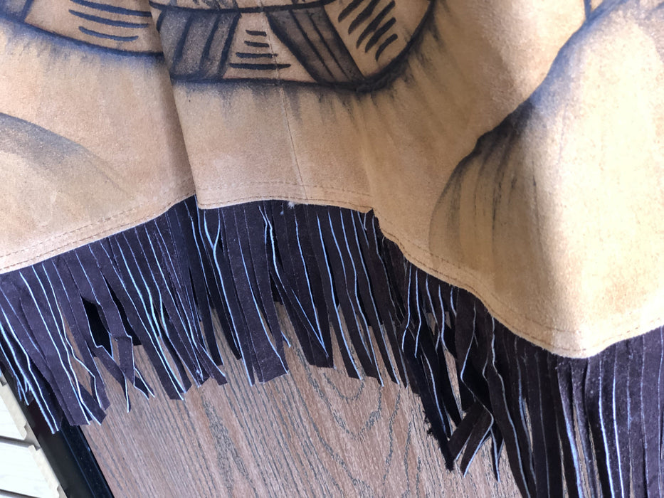 Aztec Designed Leather Poncho With Fur Inside