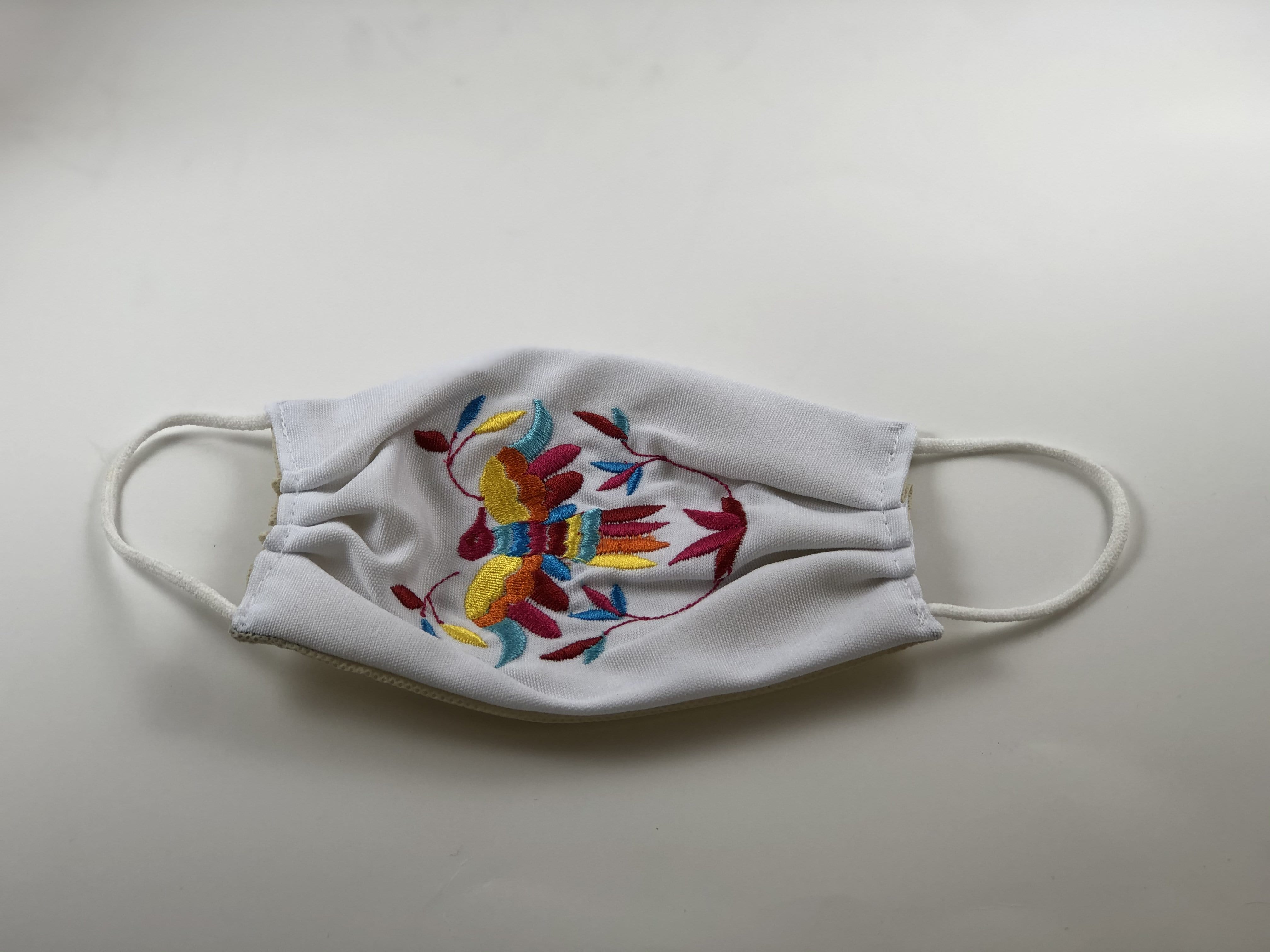White Bird Embroidered Face Mask