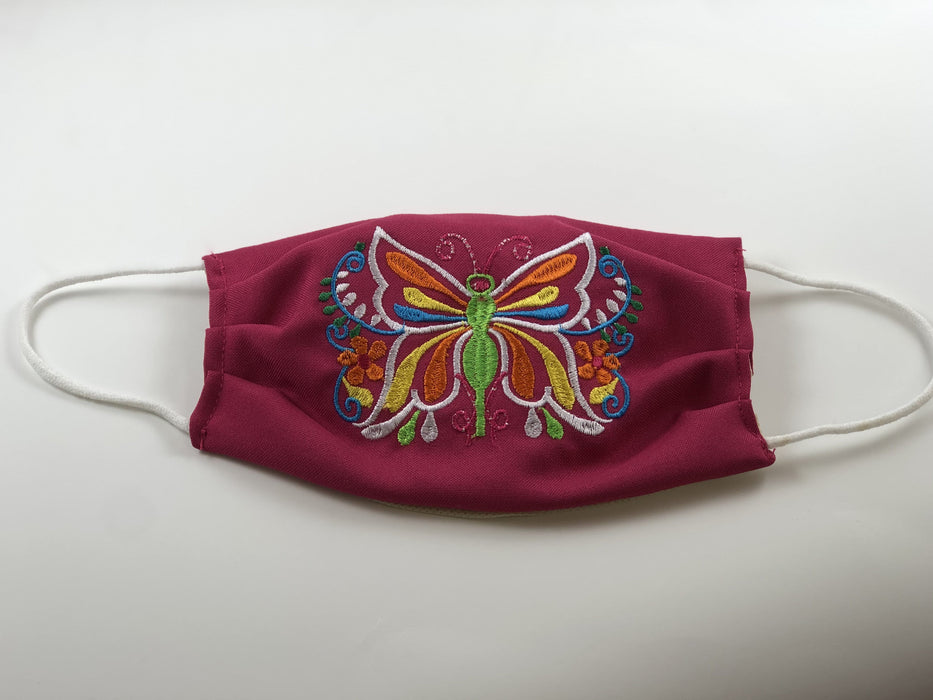 Pink Butterfly Embroidered Face Mask