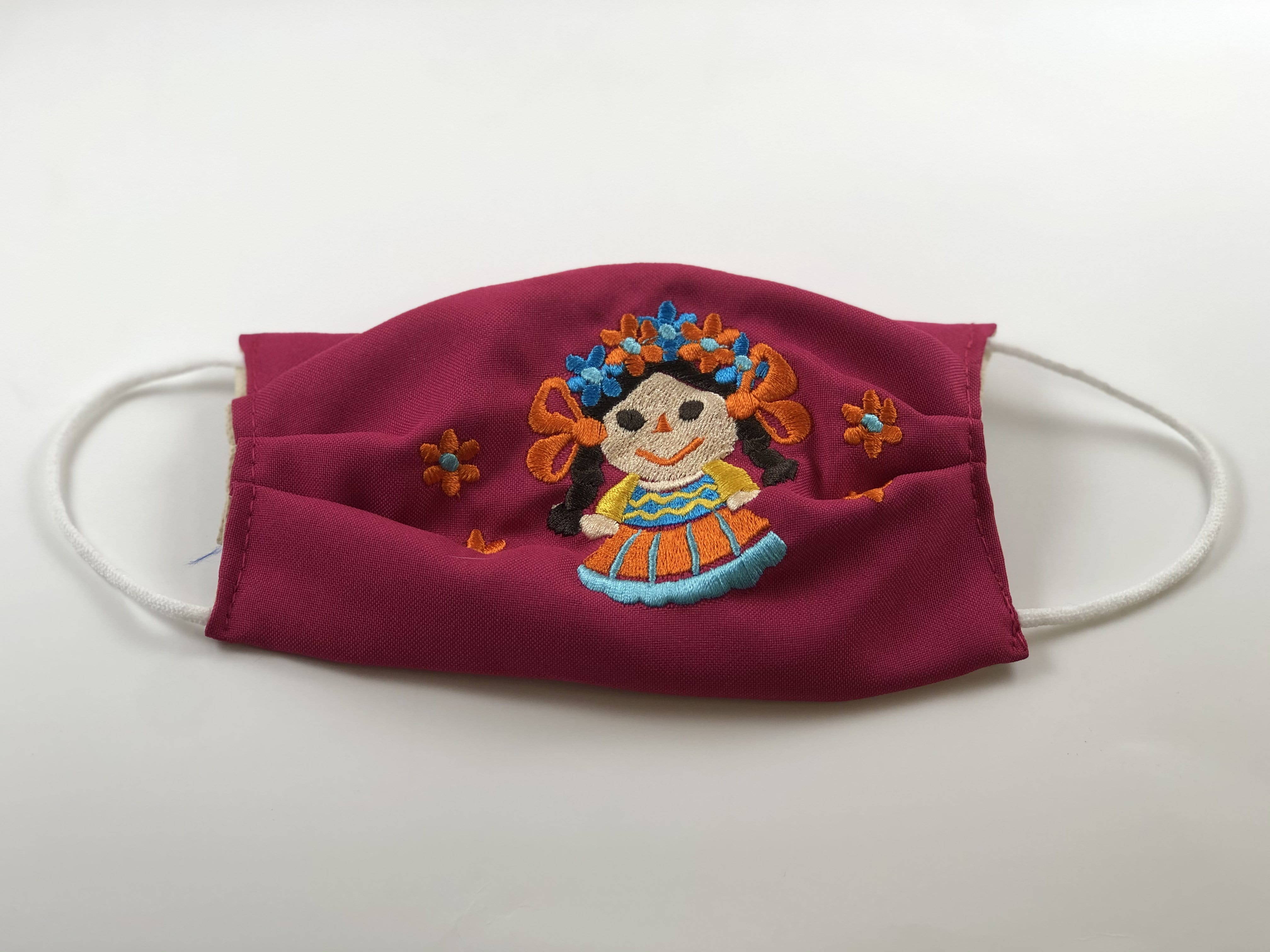 Pink Doll with Orange Flowers Embroidered Face Mask