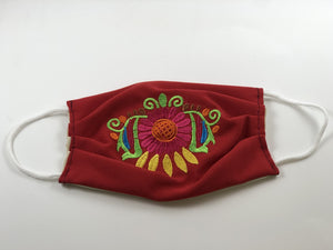 Red Pink Flower Embroidered Face Mask