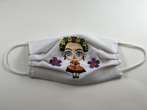 White Frida Doll Embroidered Face Mask
