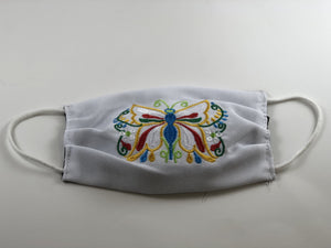 White Butterfly Embroidered Face Mask