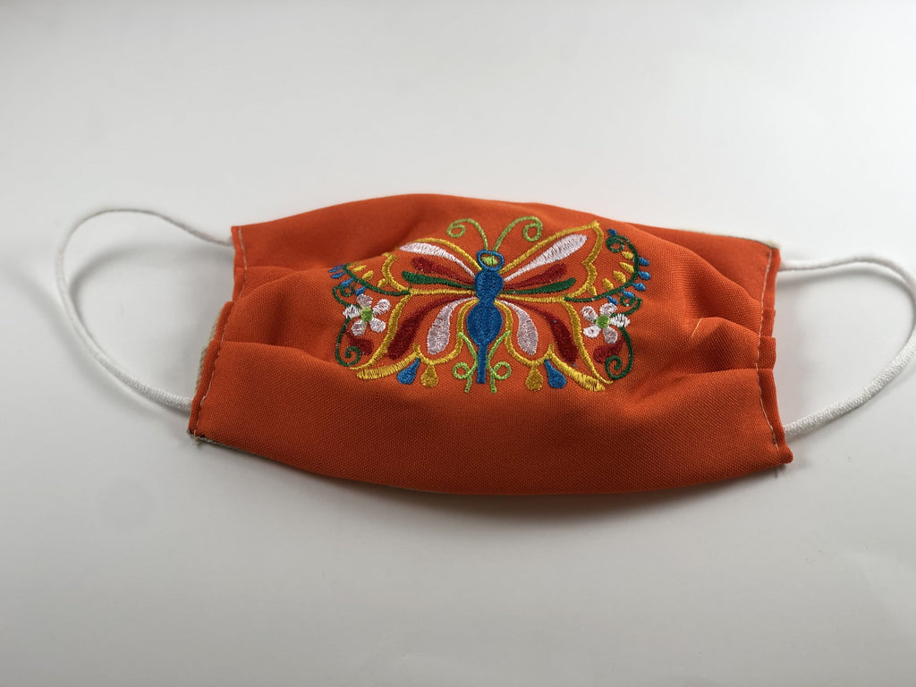 Orange Blue Butterfly Embroidered Face Mask