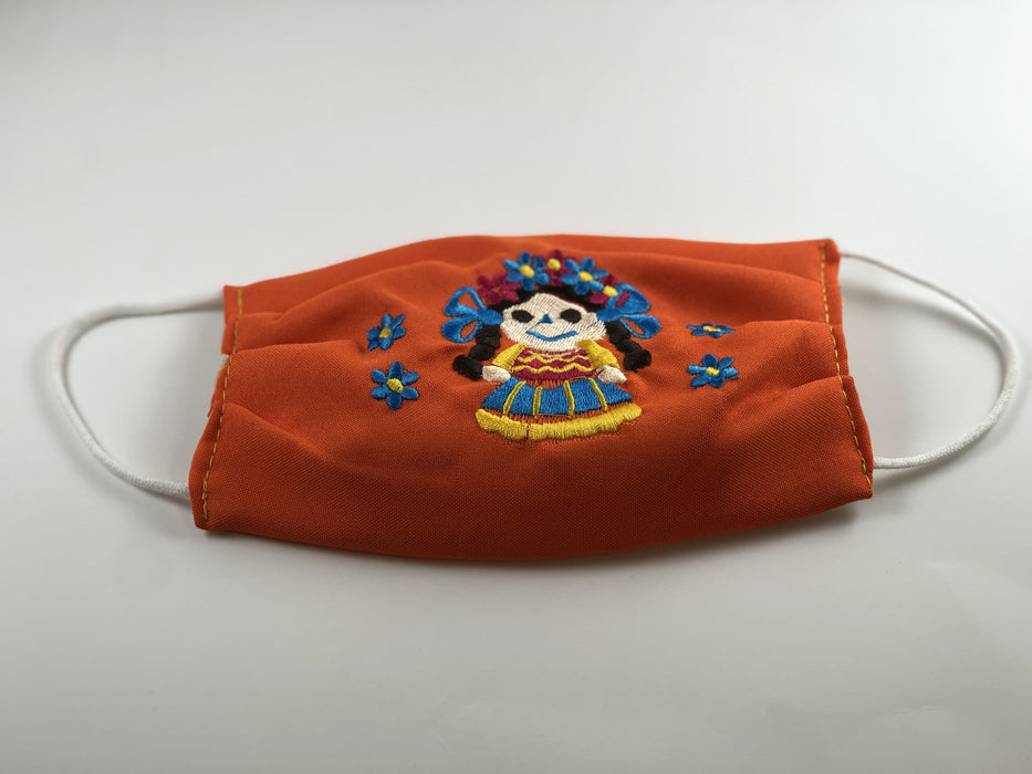 Orange Doll with Blue Flowers Embroidered Face Mask