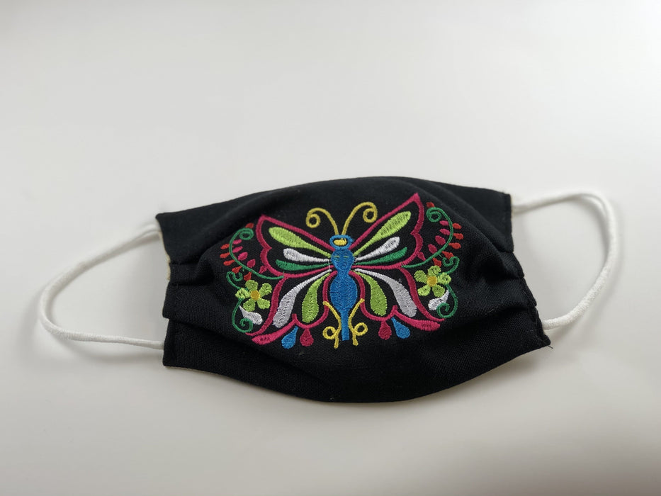 Black Butterfly Embroidered Face Mask