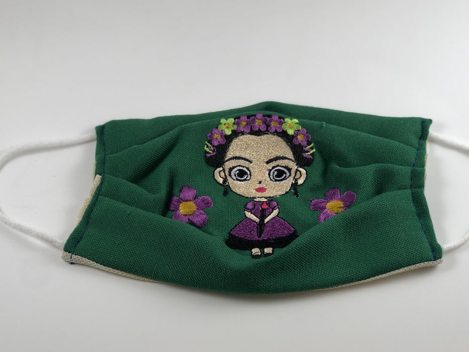 Dark Green Frida Doll Embroidered Face Mask