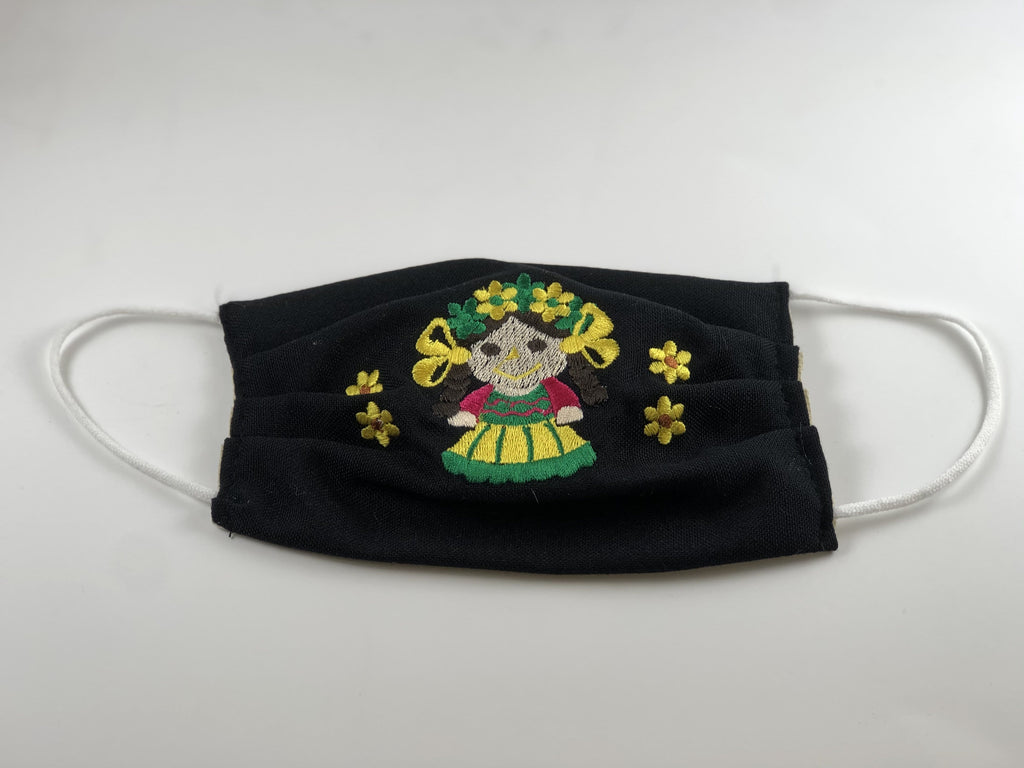 Black Doll with Yellow Flowers Embroidered Face Mask