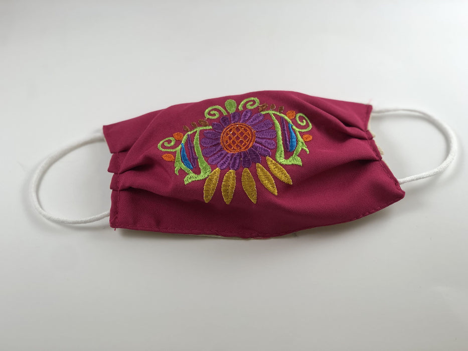 Pink with Purple Flower Embroidered Face Mask
