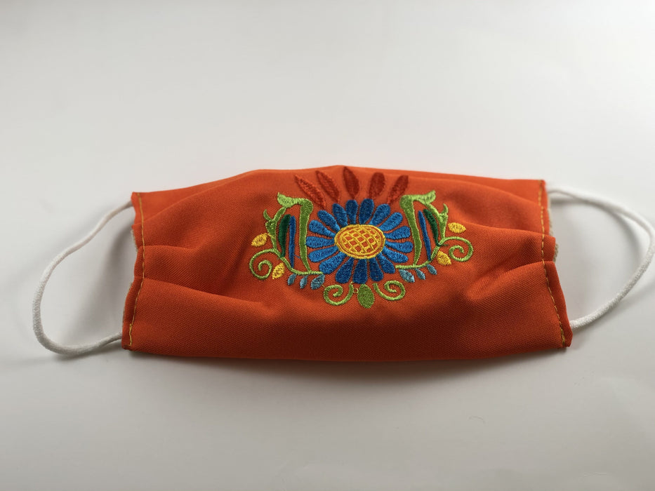Orange with Blue Flower Embroidered Face Mask