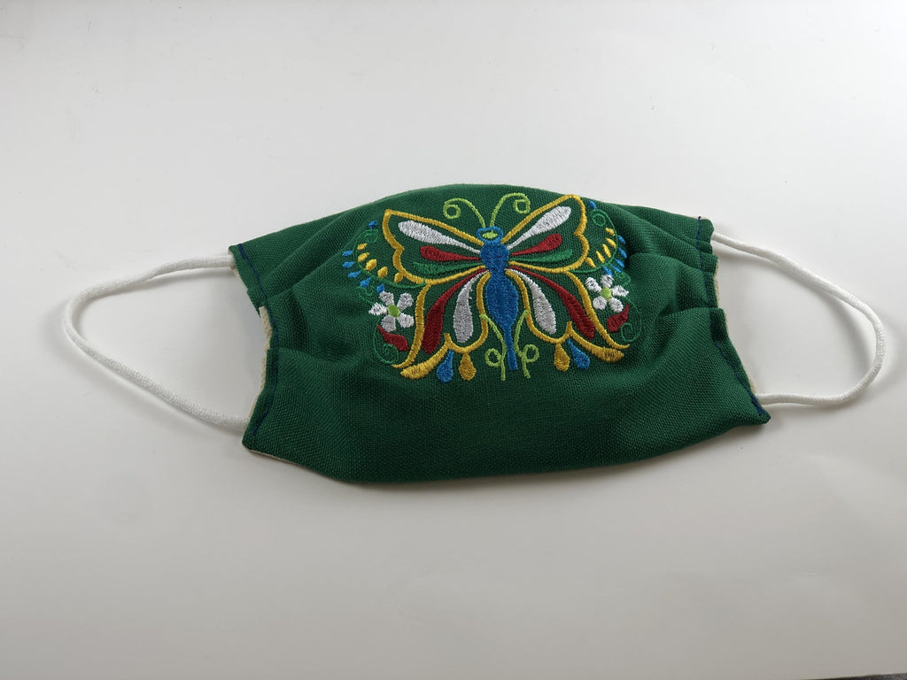 Dark Green Butterfly Embroidered Face Mask