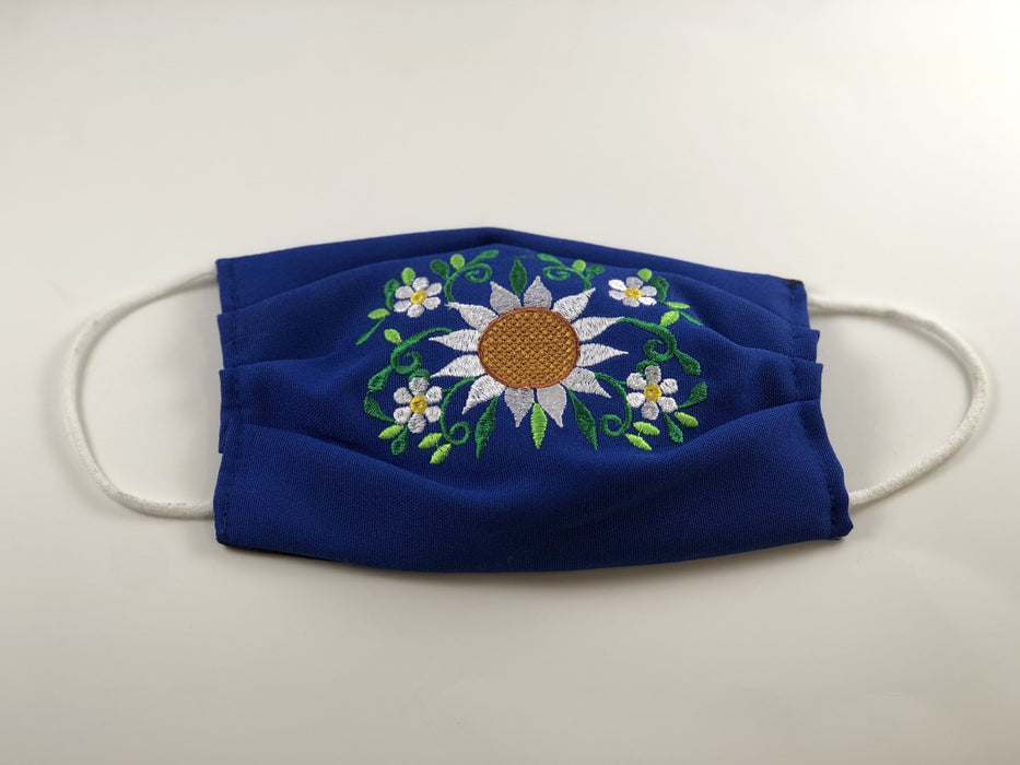 Blue Sunflower Embroidered Face Mask