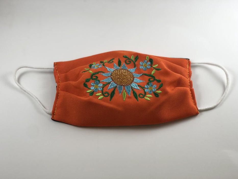 Orange Sunflower Embroidered Face Mask