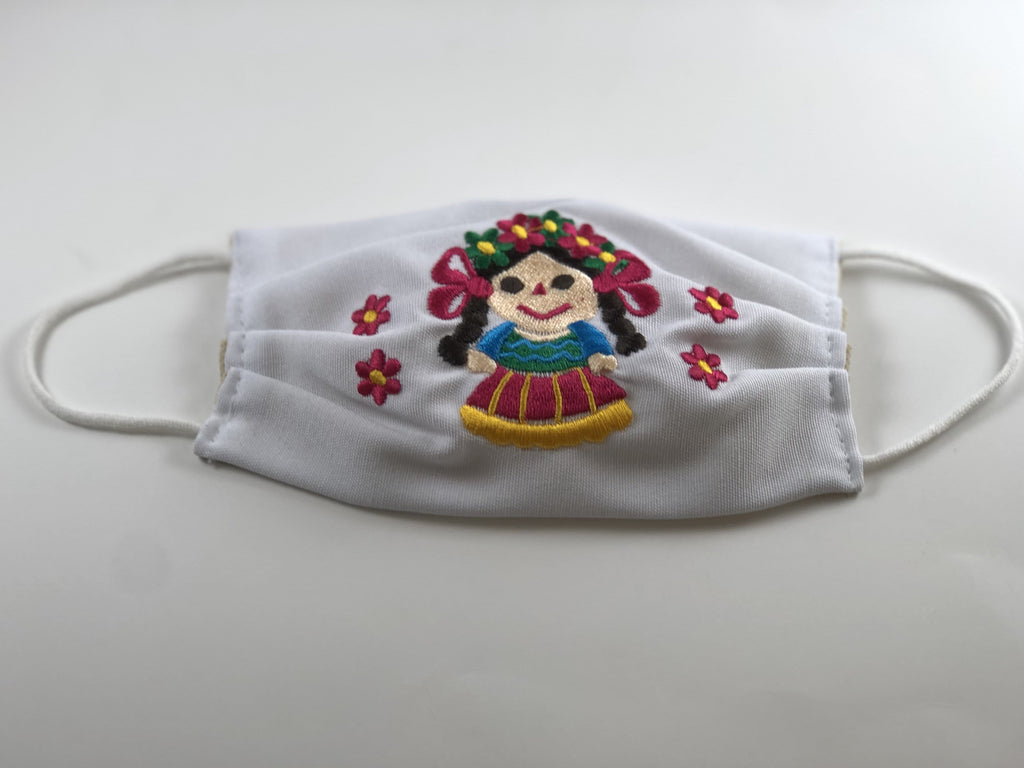 White Doll with Red Flowers Embroidered Face Mask