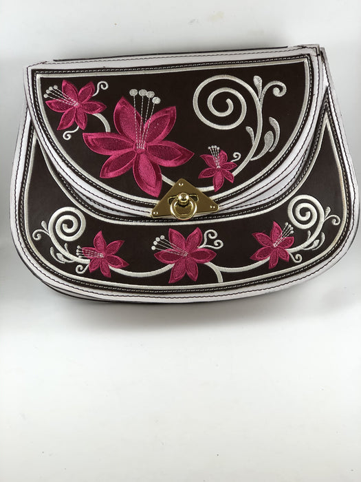 White with Pink Rose Embroidered Purse