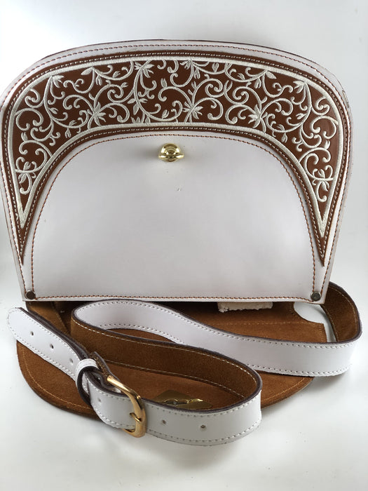 White with Brown Natural Roots Embroidered Purse